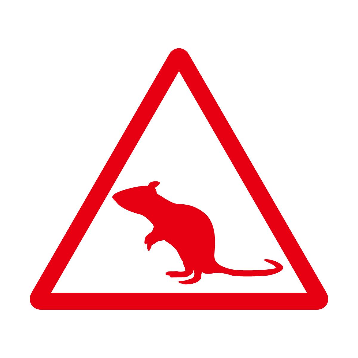 赤色のネズミ注意マークのカッティングステッカー・シール