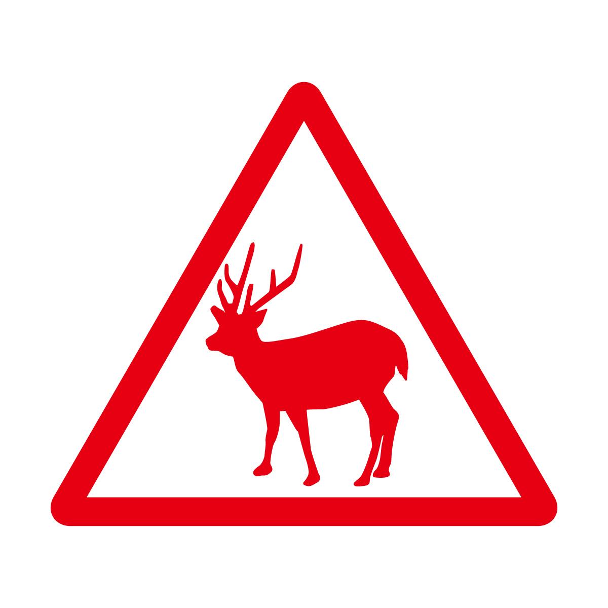 赤色の 鹿出没注意マークのカッティングステッカー・シール