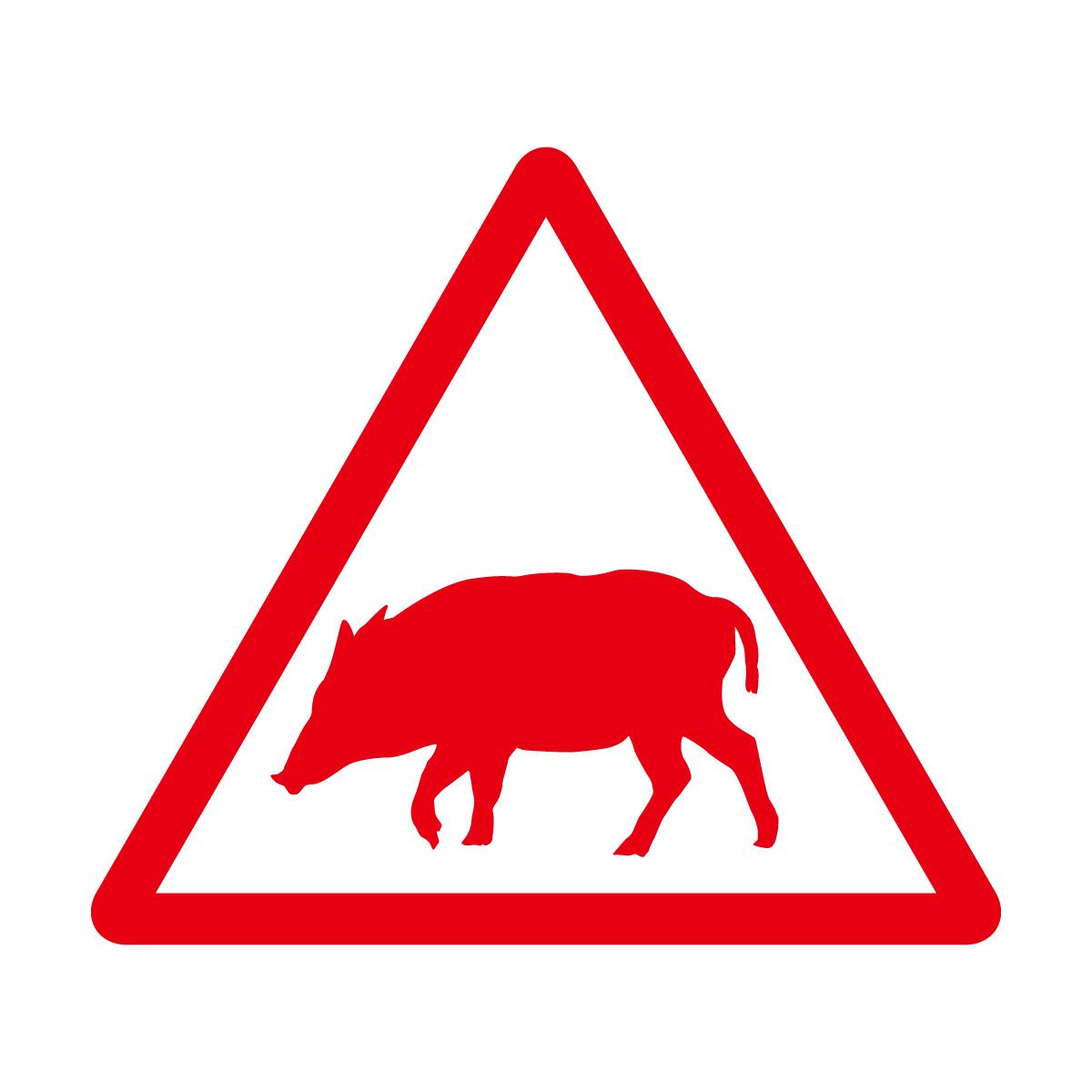 赤色の猪出没注意マークのカッティングステッカー・シール