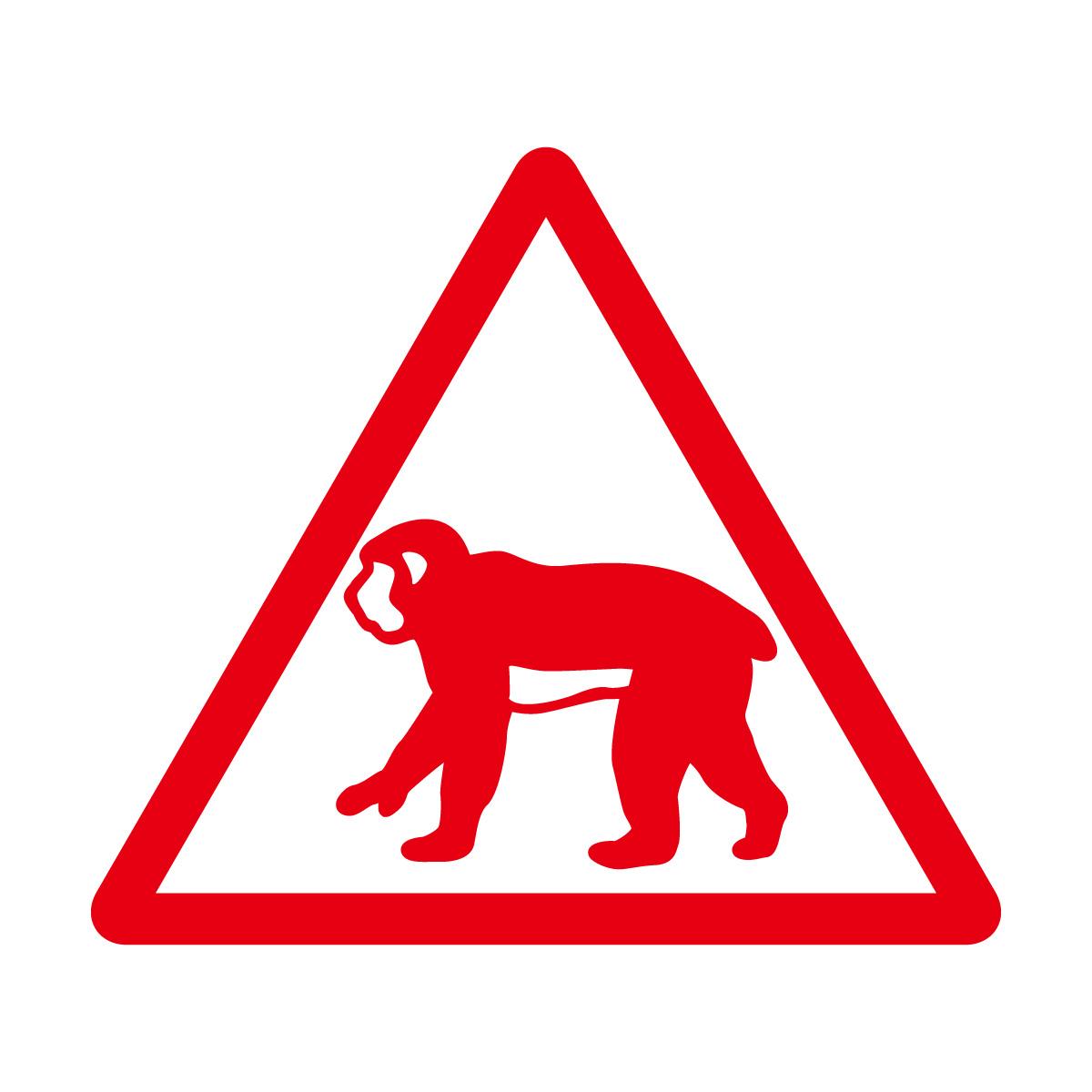 赤色の猿出没注意マークのカッティングステッカー・シール