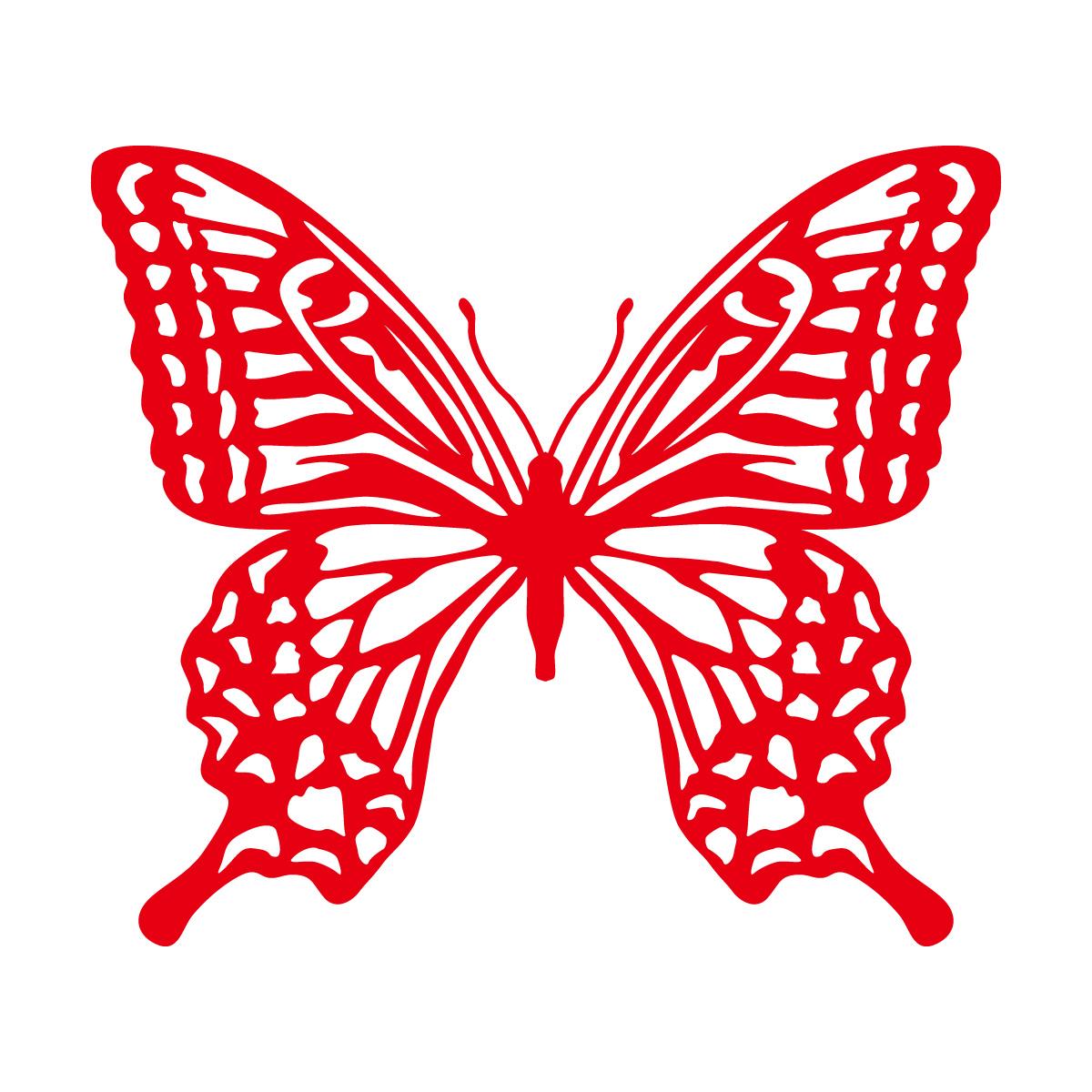 赤色のアゲハ蝶・バタフライのカッティングステッカー・シール