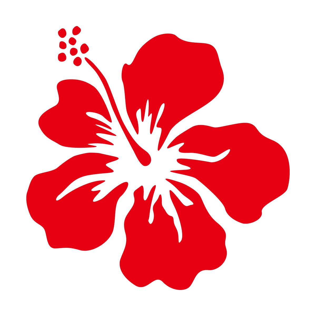 赤色のハイビスカス・南国植物のカッティングステッカー・シール