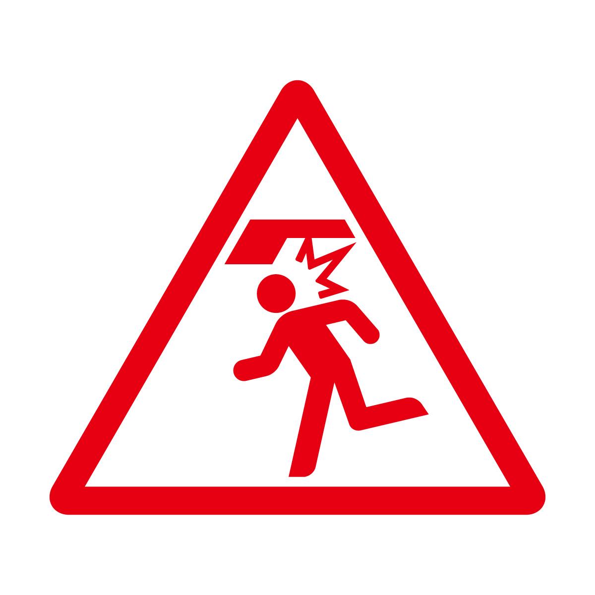 赤色の頭上注意標識のカッティングステッカーシール