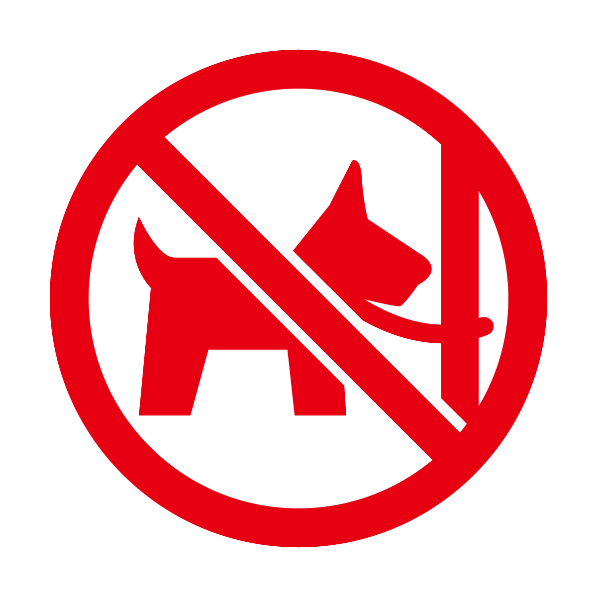 赤色のペットの放置禁止マークのカッティングシートステッカー