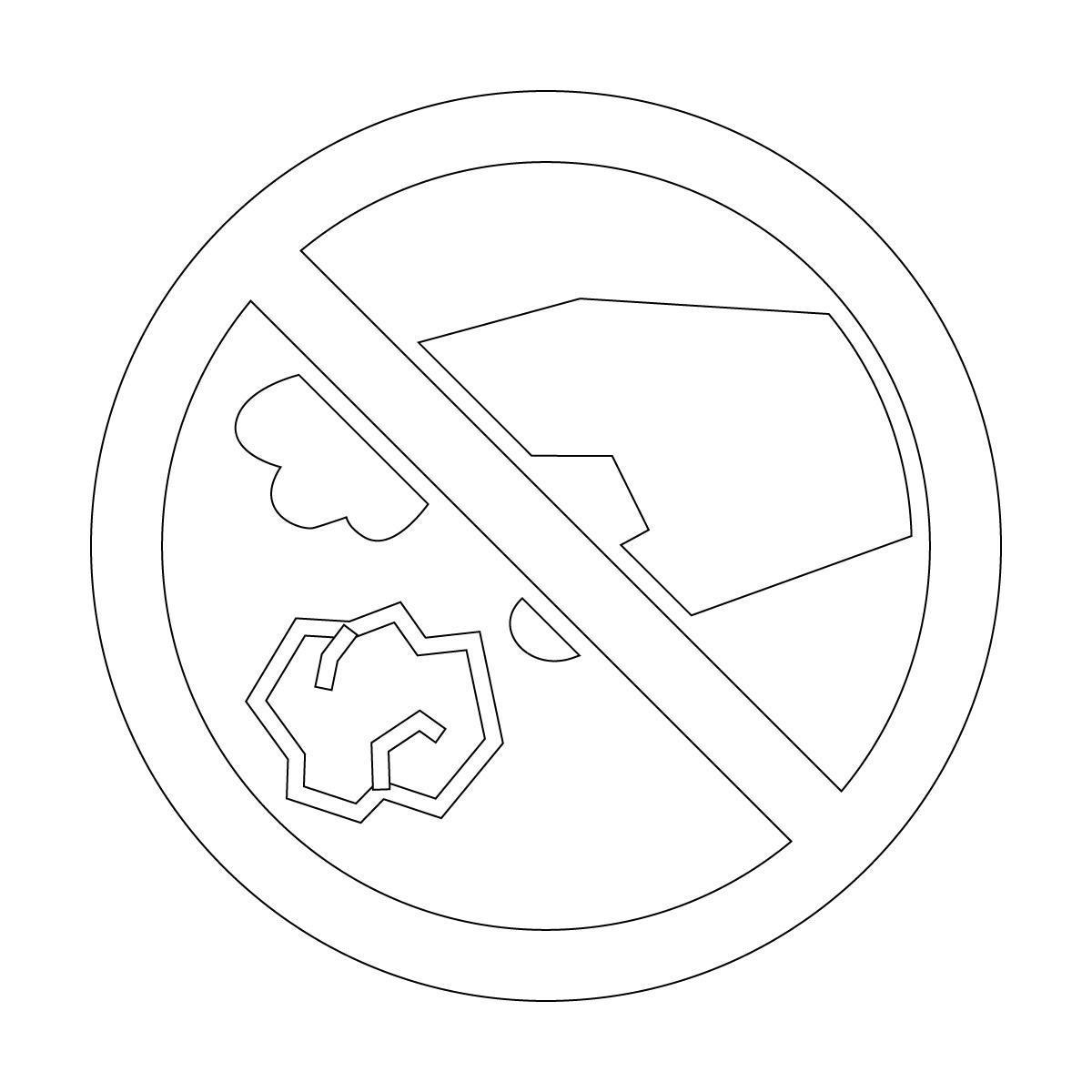 白色のゴミのポイ捨て禁止マークのカッティングステッカー