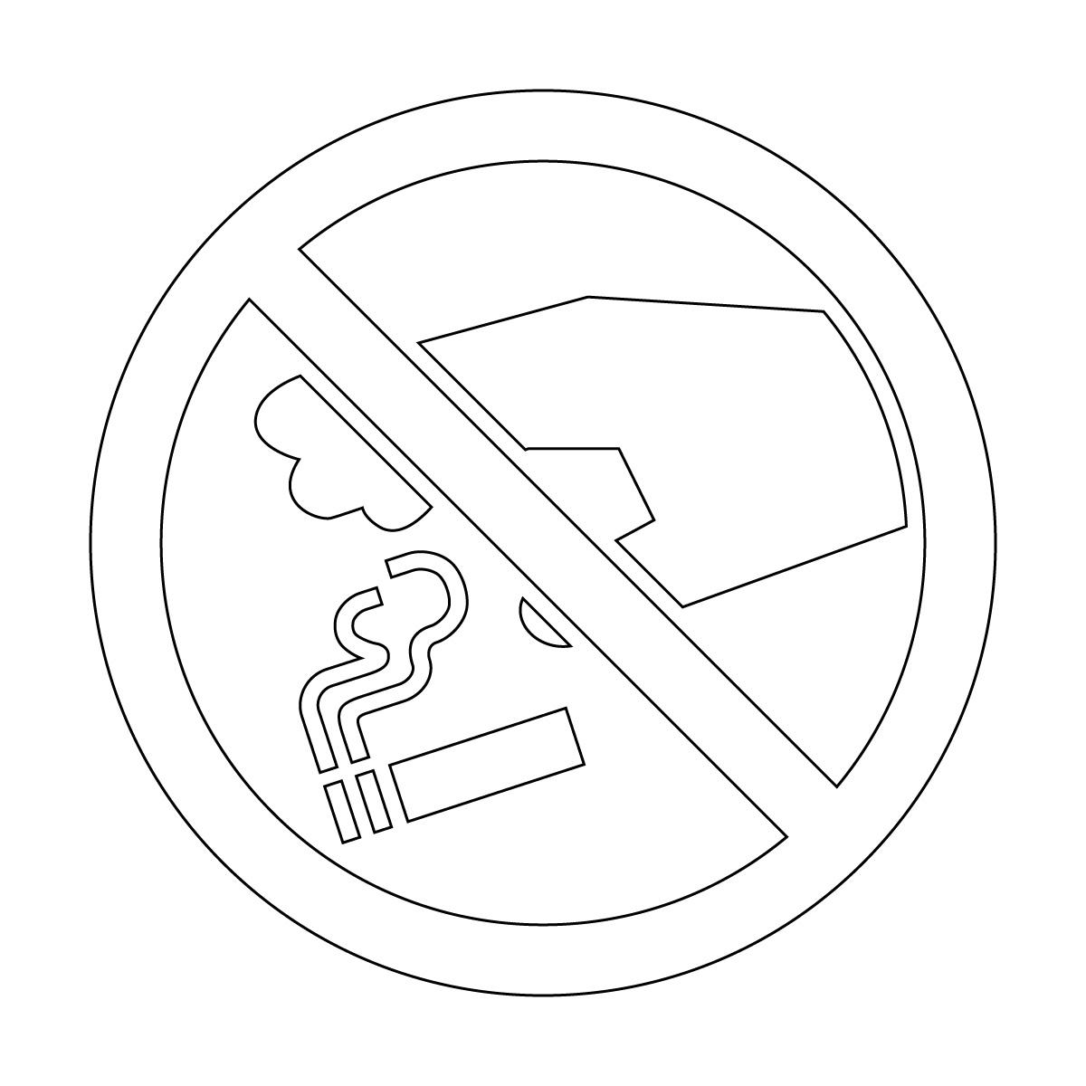 白色のタバコのポイ捨て禁止マークのカッティングステッカー