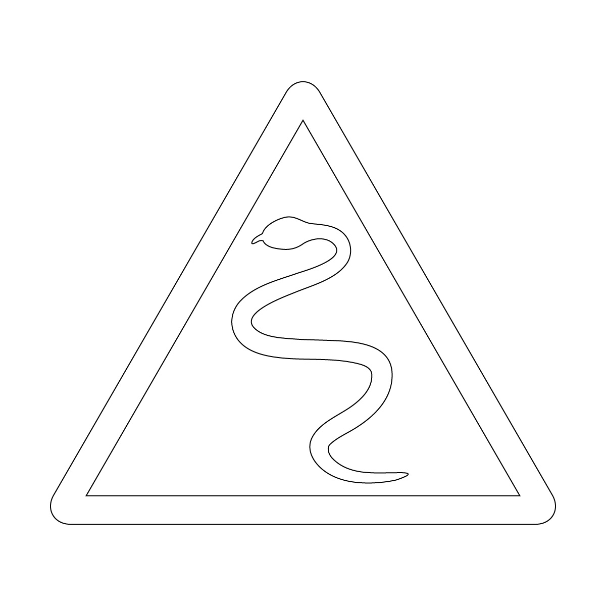 白色のへび注意マークのカッティングステッカー・シール
