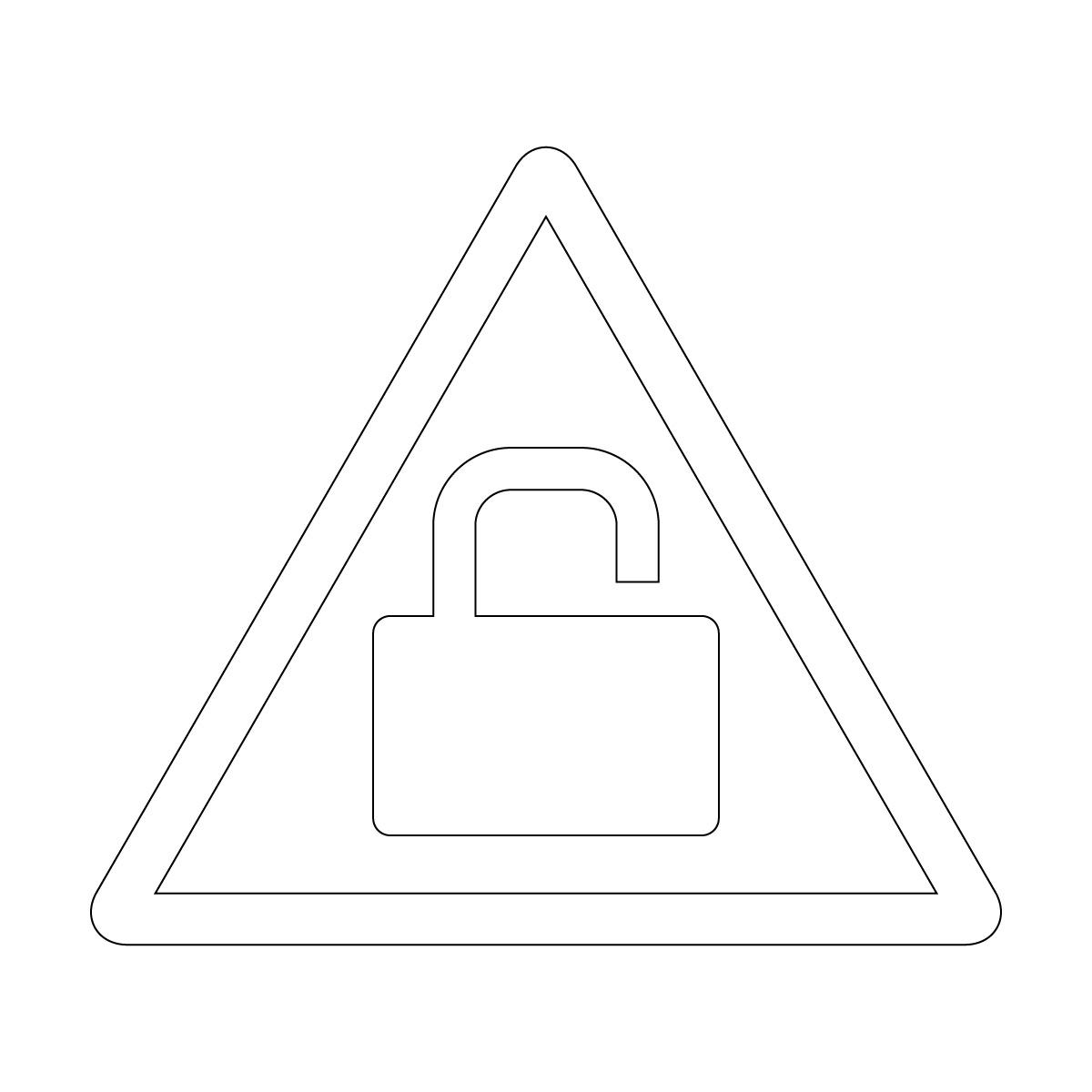 白色の鍵かけ・施錠注意マークのカッティングステッカー・シール