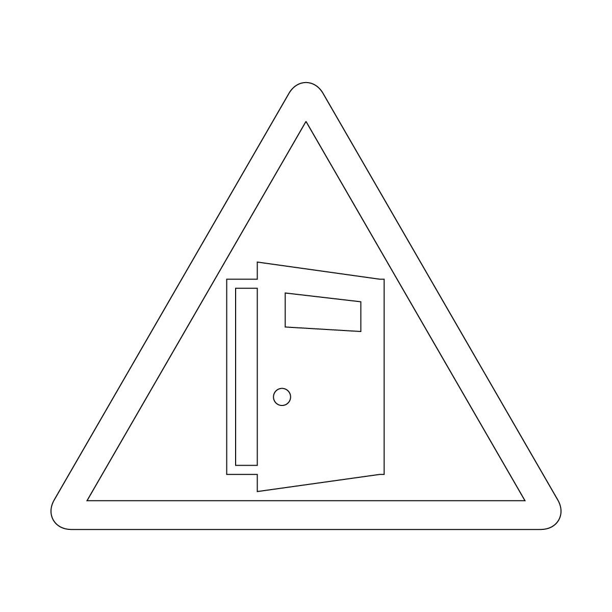 白色の扉の開放注意マークのカッティングステッカー・シール