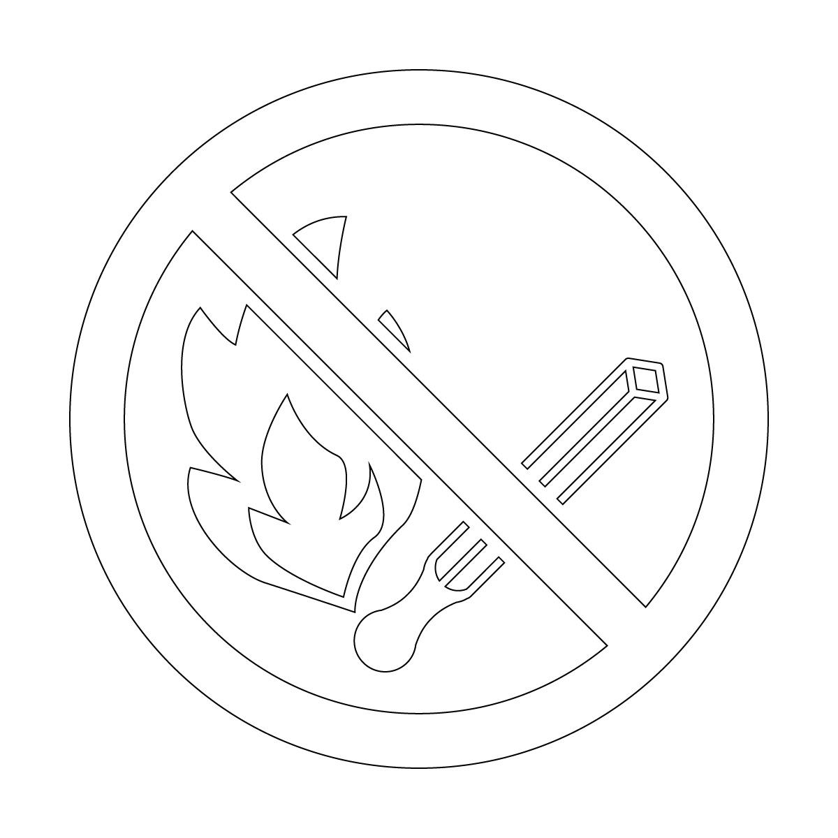 白色の火気厳禁・火の使用を禁止するマークのカッティングステッカー・シール