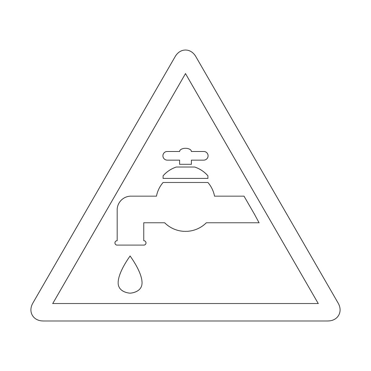 白色の節水注意マークのカッティングステッカー・シール