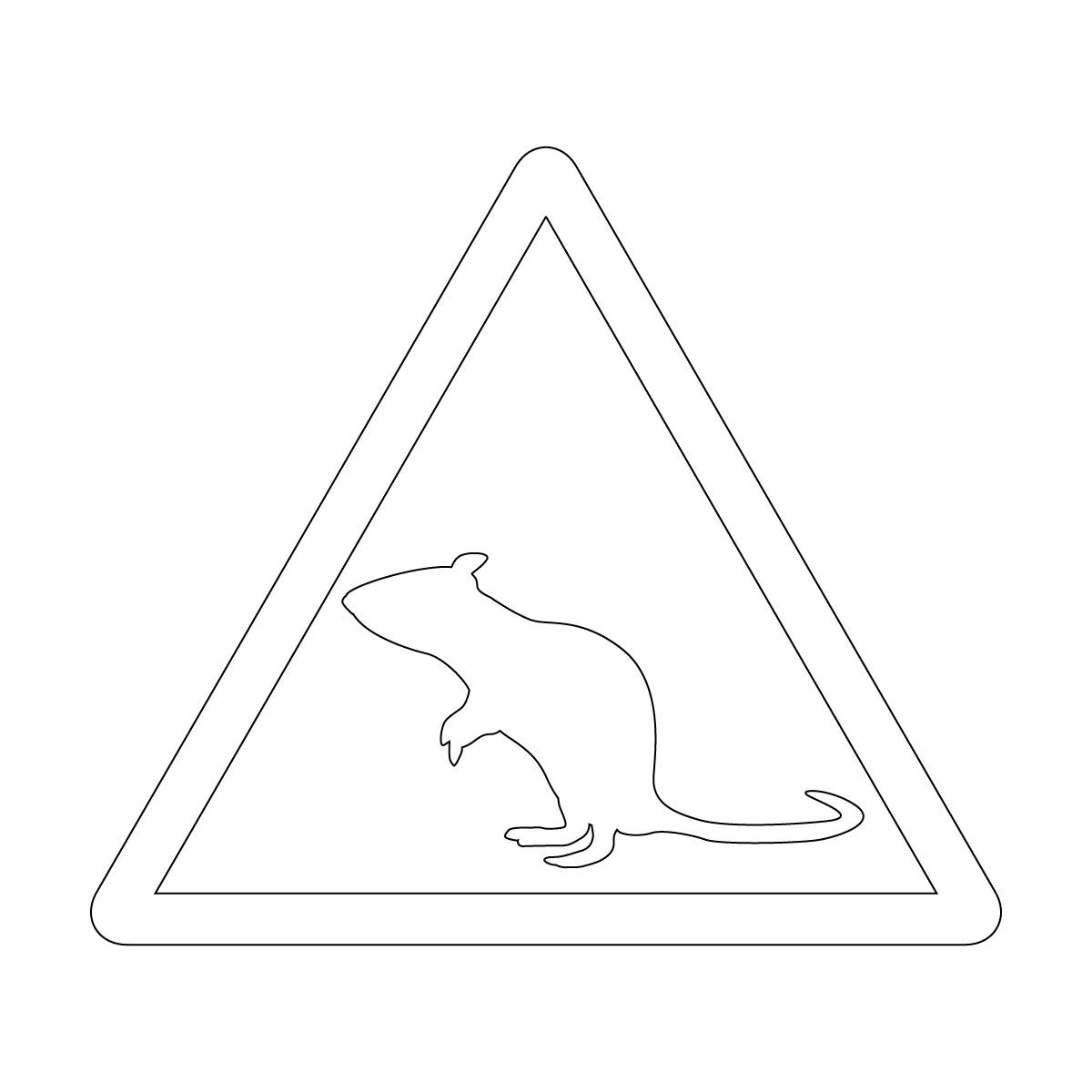 白色のネズミ注意マークのカッティングステッカー・シール