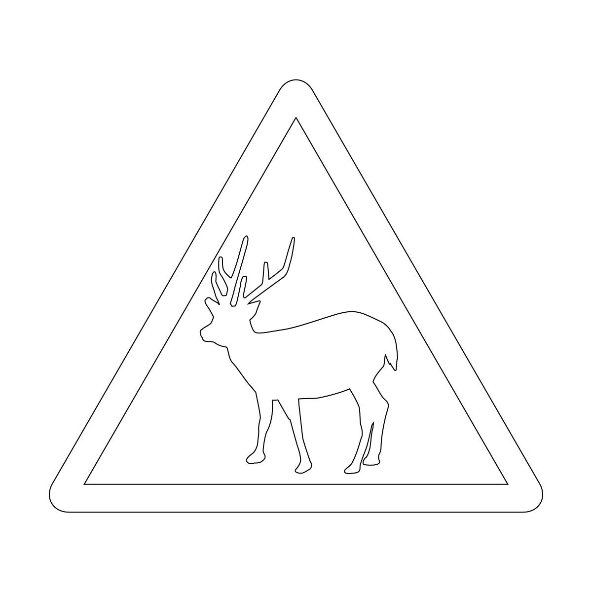 白色の 鹿出没注意マークのカッティングステッカー・シール
