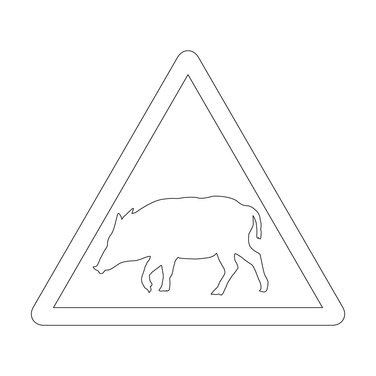白色の猪出没注意マークのカッティングステッカー・シール