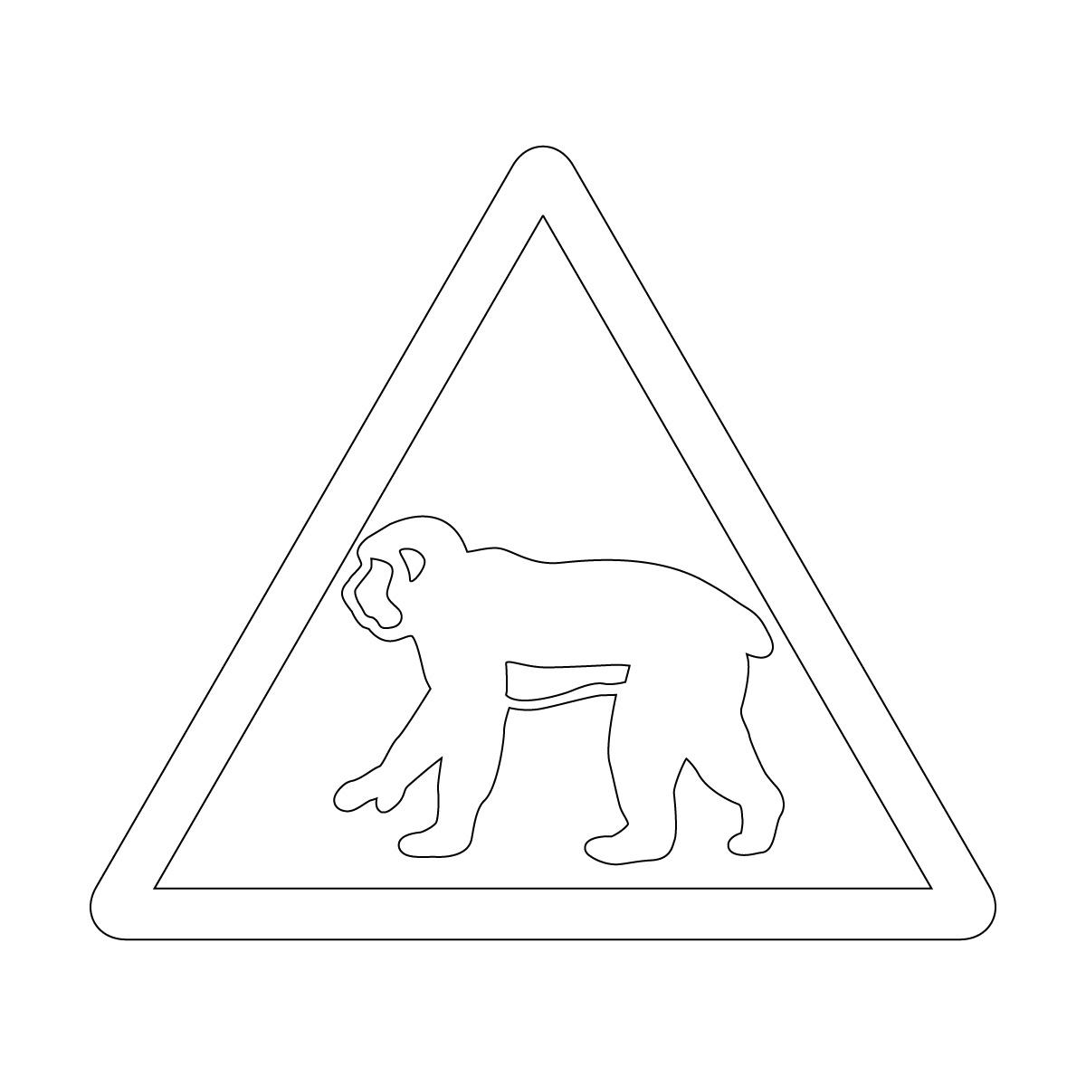 白色の猿出没注意マークのカッティングステッカー・シール