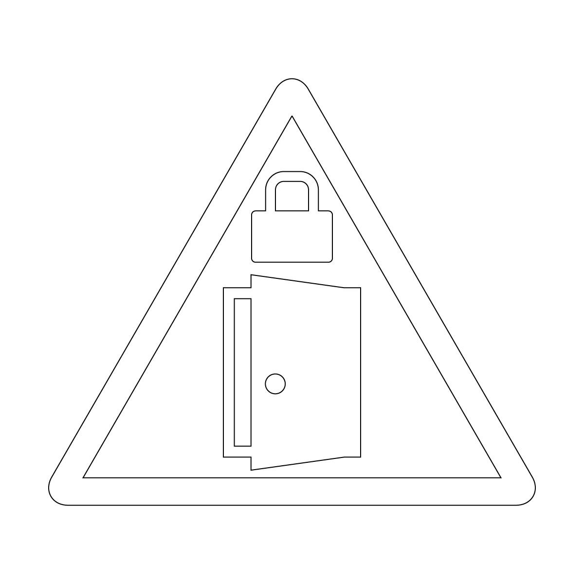 白色の扉・ドアの施錠注意 鍵掛け マークのカッティングステッカー・シール