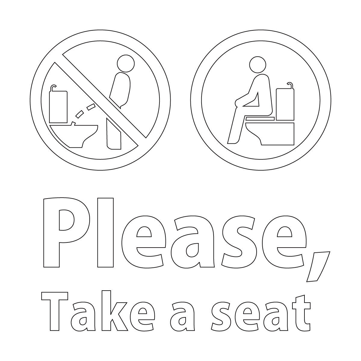 白色の英語 Please, Take a seat(洋式トイレに座って使用のお願い)カッティングステッカー・シール