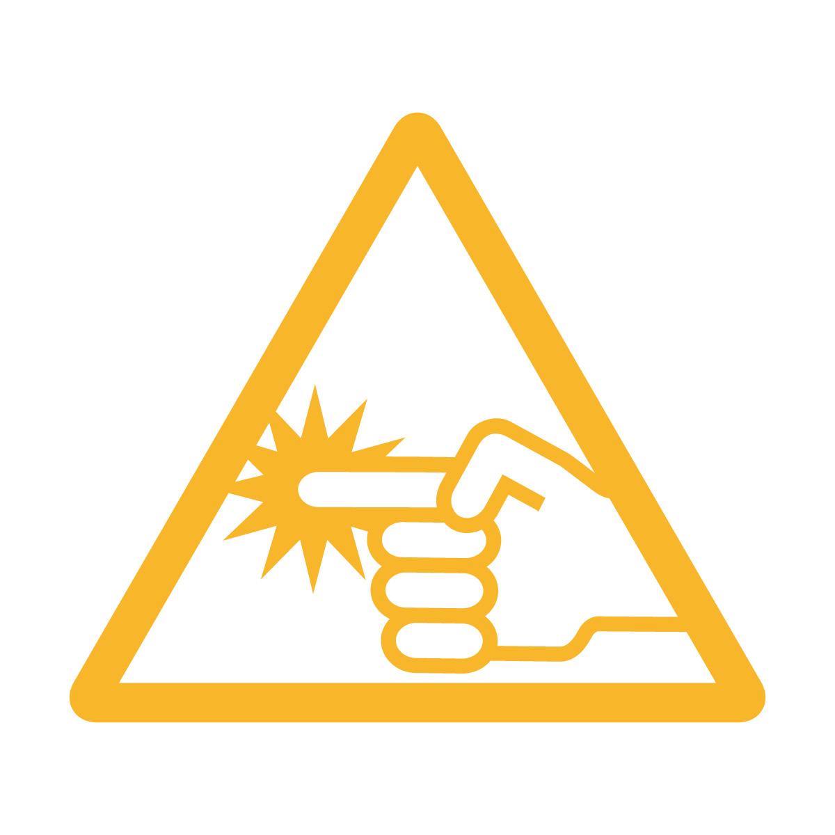黄色い指づめ・指挟み注意マークのカッティングシートステッカー・シール