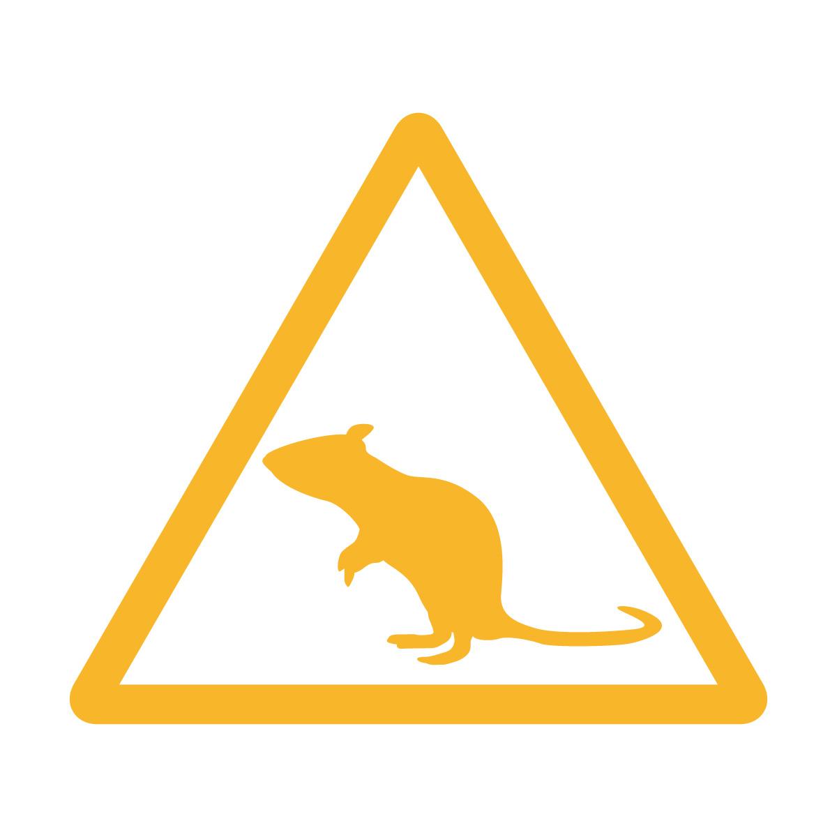 黄色のネズミ注意マークのカッティングステッカー・シール