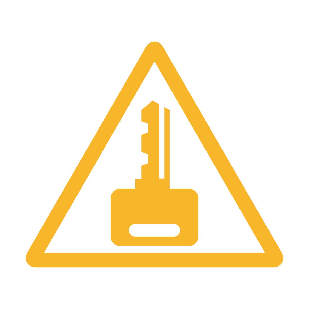 黄色の 鍵掛け・施錠注意マークのカッティングステッカー・シール