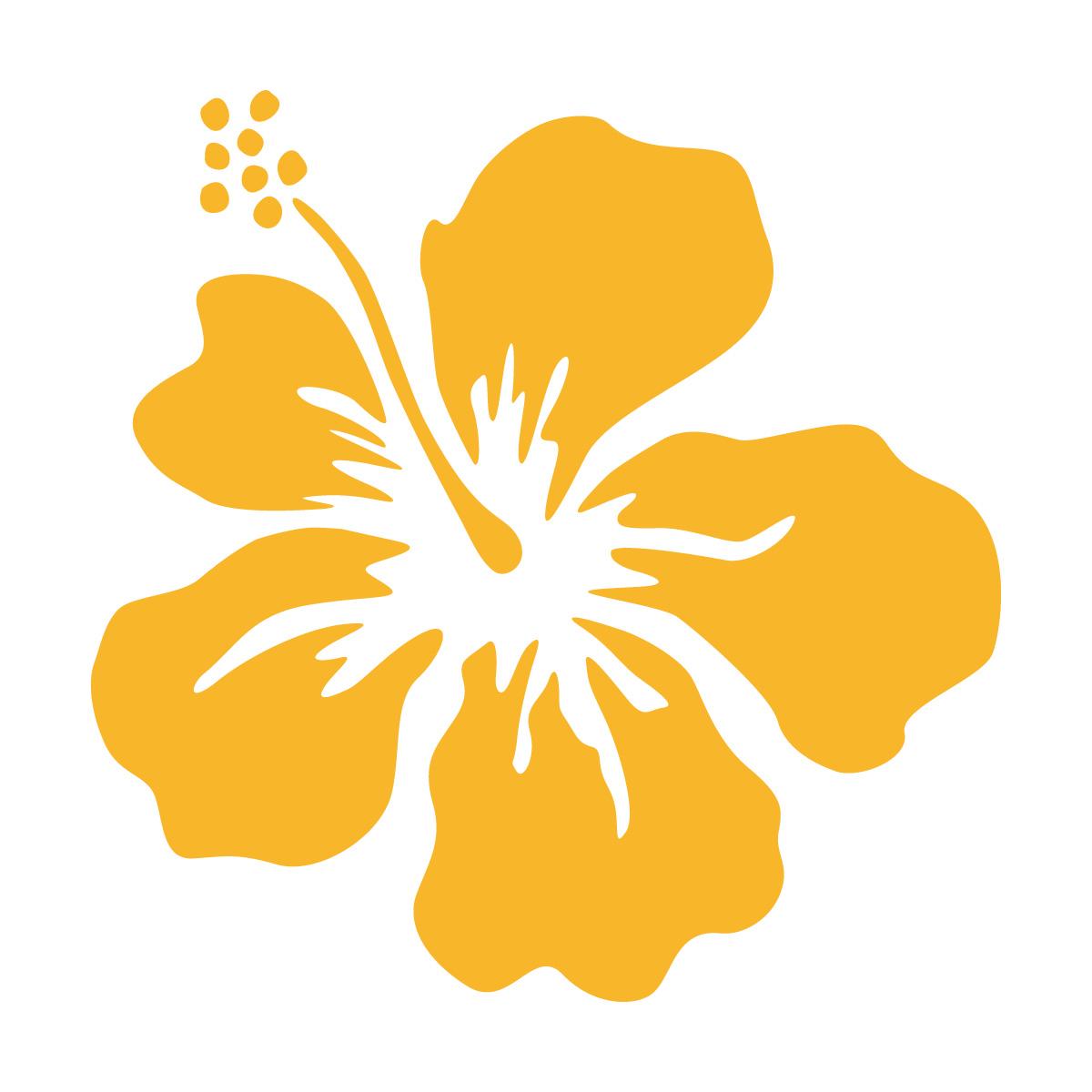 黄色のハイビスカス・南国植物のカッティングステッカー・シール