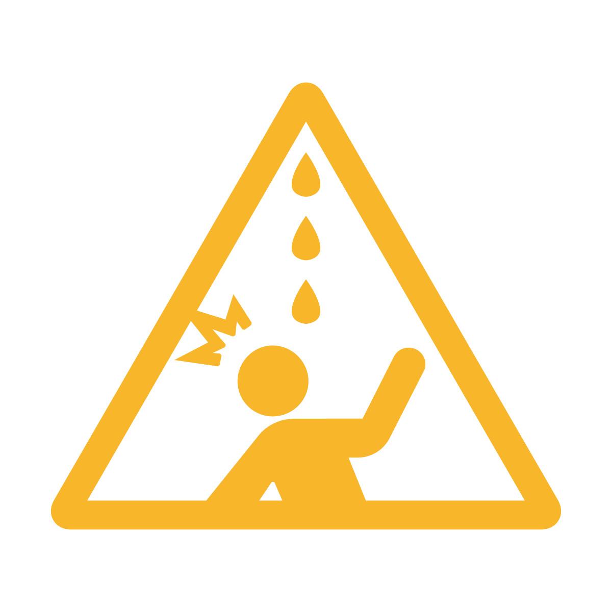 黄色の水漏れ・鳥フン注意マークのカッティングシートステッカー