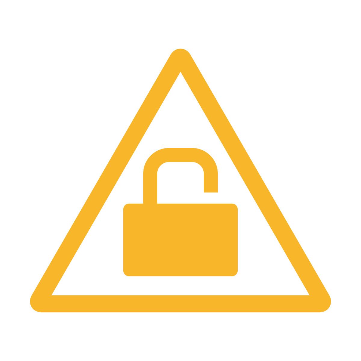 黄色の鍵かけ・施錠注意マークのカッティングステッカー・シール