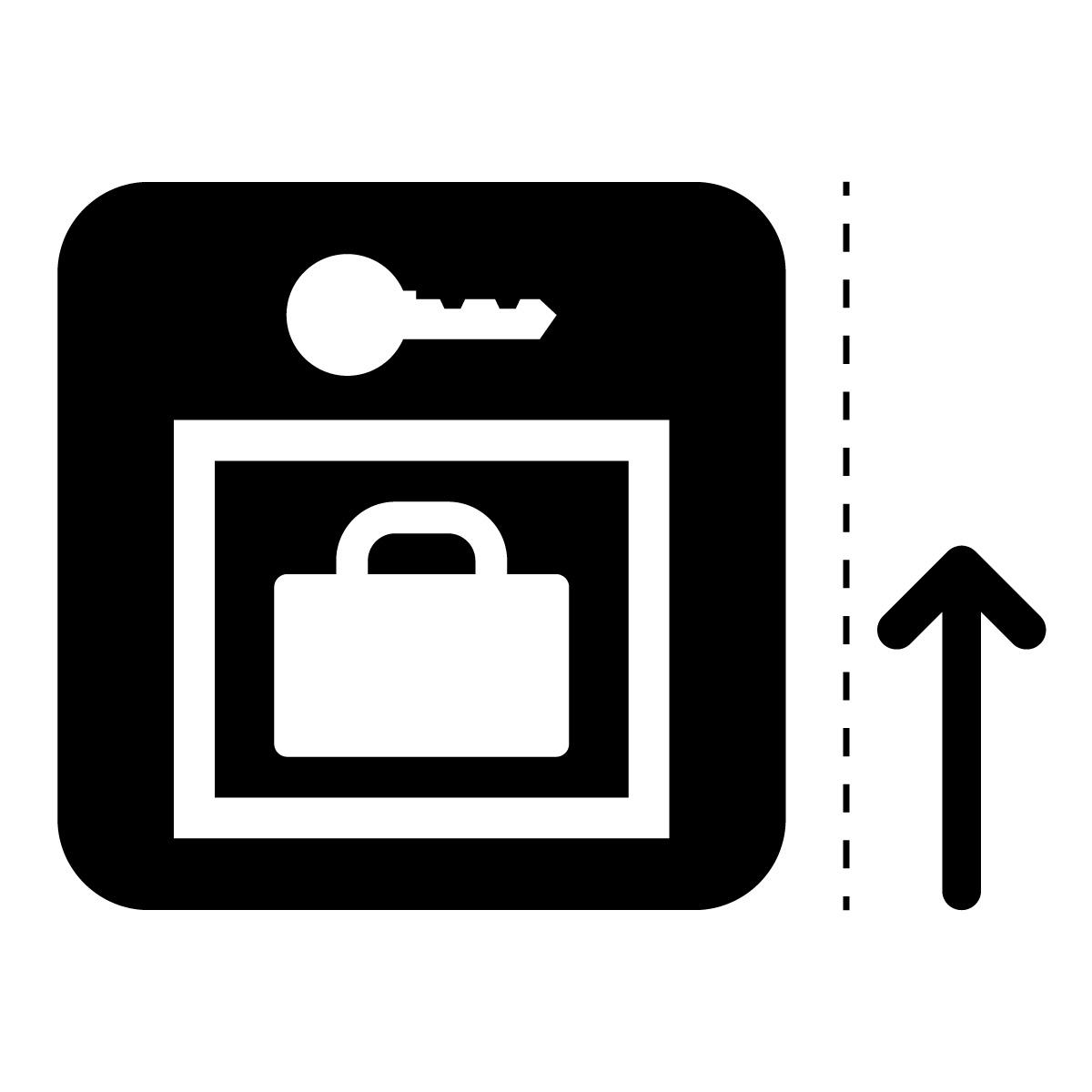 黒色のロッカー案内マーク(矢印付き)のカッティングステッカー・シール