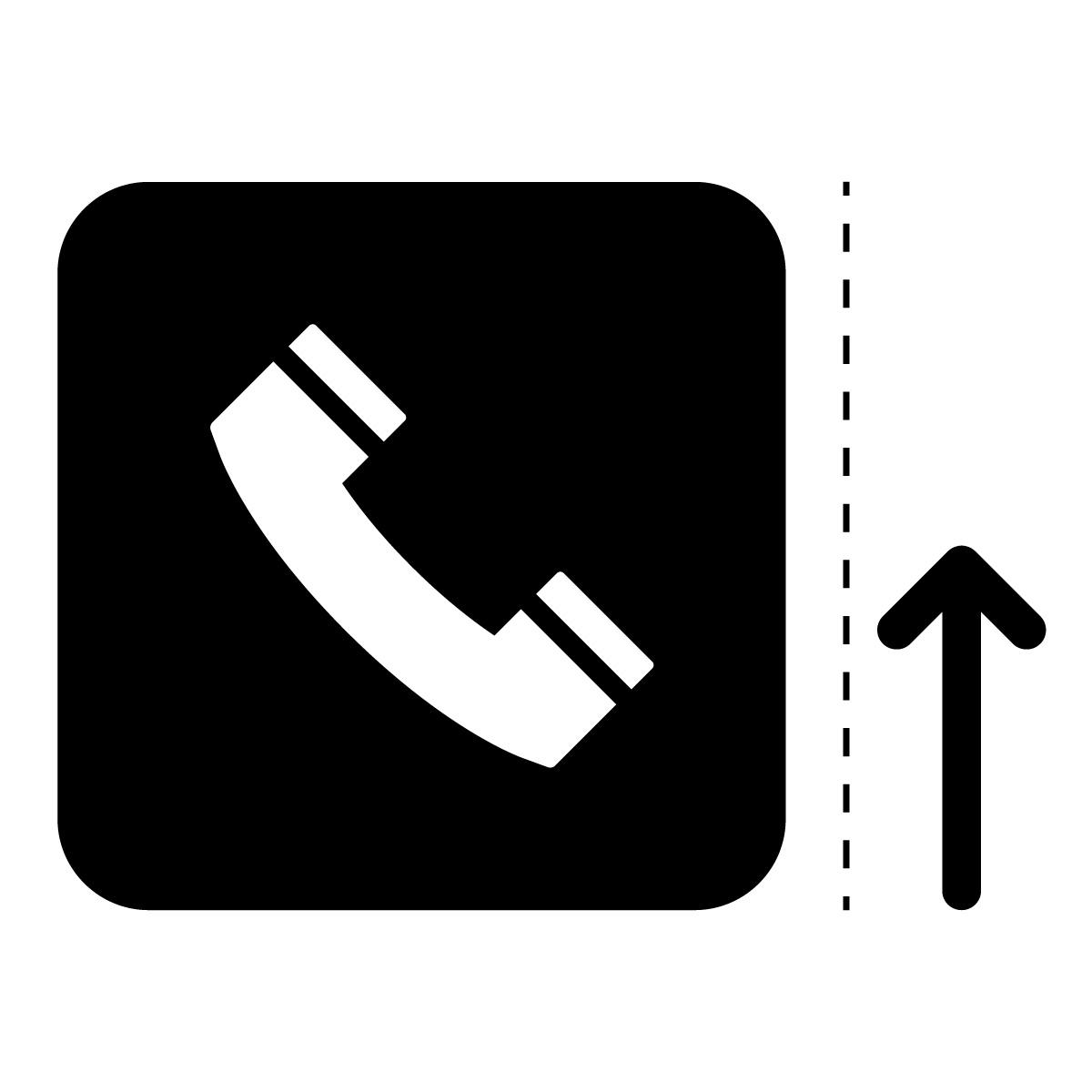 黒色の公衆電話案内マーク(矢印付き)のカッティングステッカー・シール