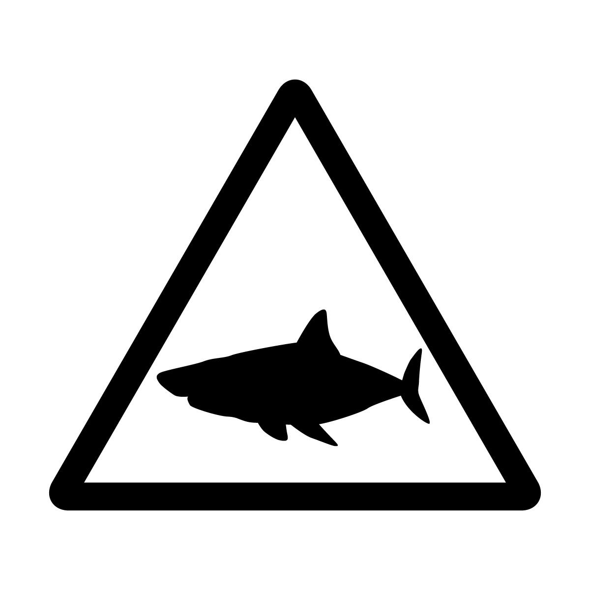 黒色のサメ出没注意マークのカッティングステッカー・シール