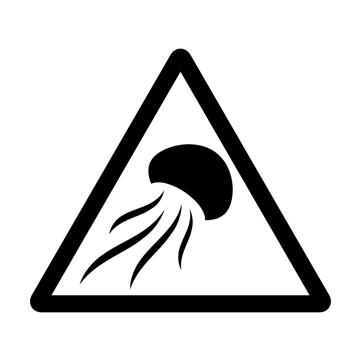 黒色のクラゲ出没注意マークのカッティングステッカー・シール