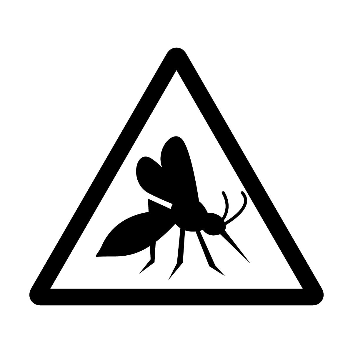 黒色の蚊注意マークのカッティングステッカー・シール