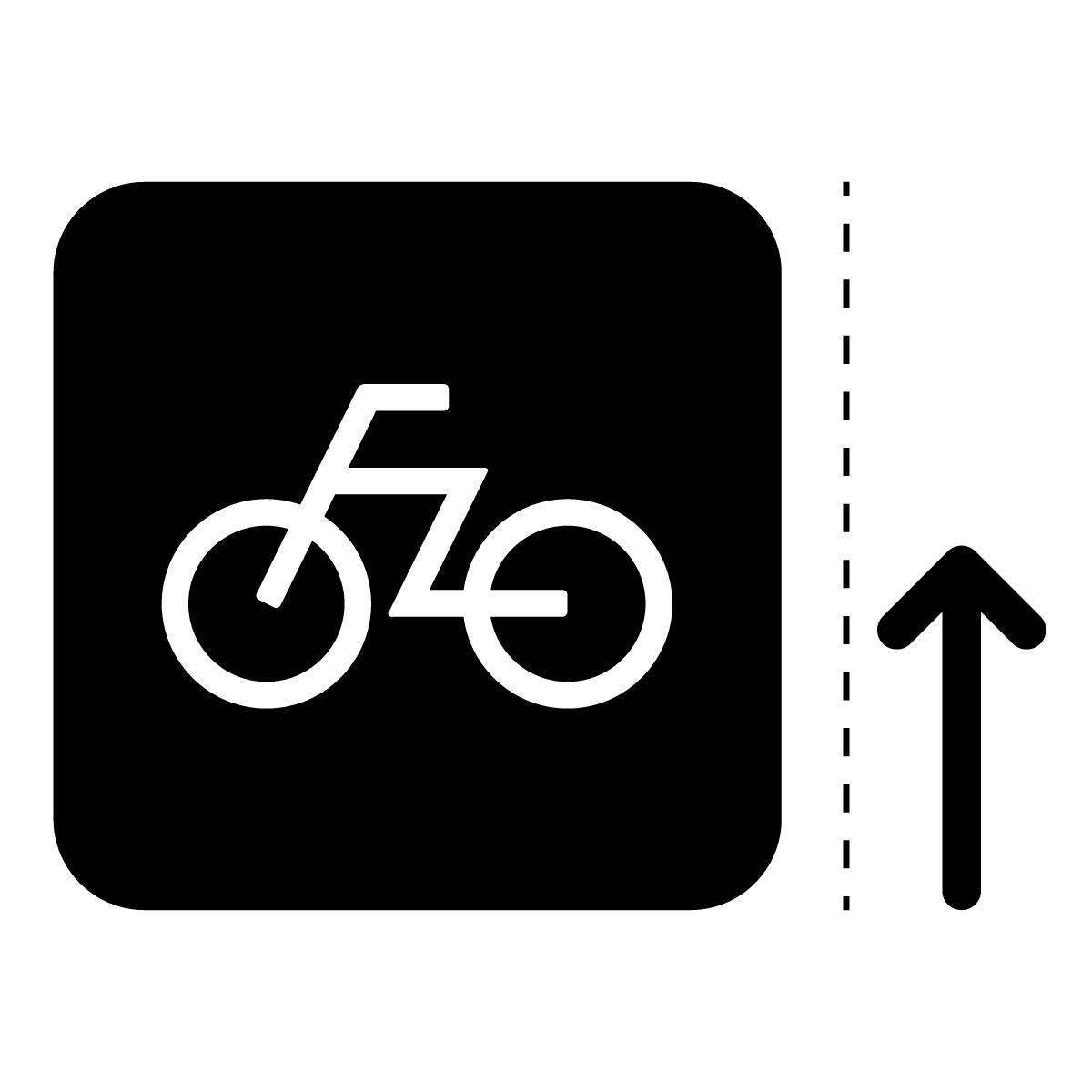 黒色の自転車案内マークのカッティングステッカー・シール