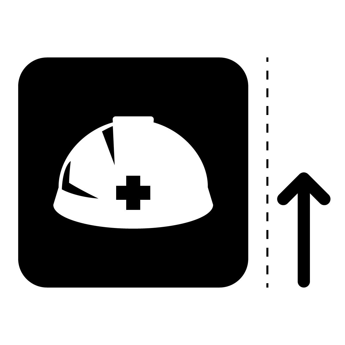 黒色のヘルメット・着用 事故防止の案内マークのカッティングステッカー・シール