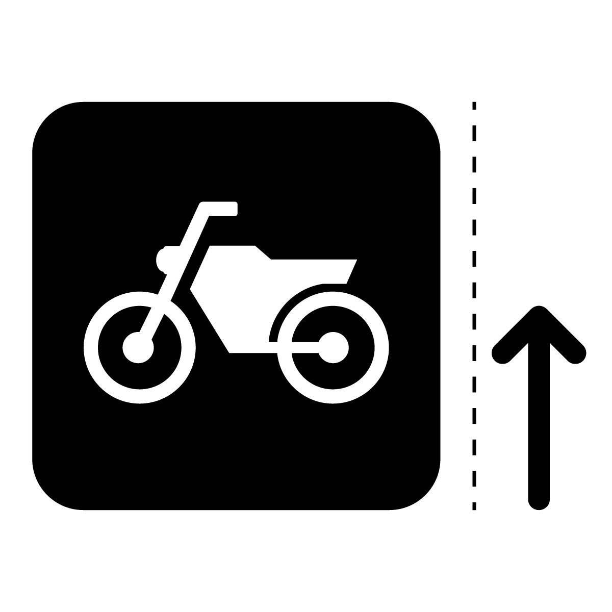 黒色のバイク案内マークのカッティングステッカー・シール