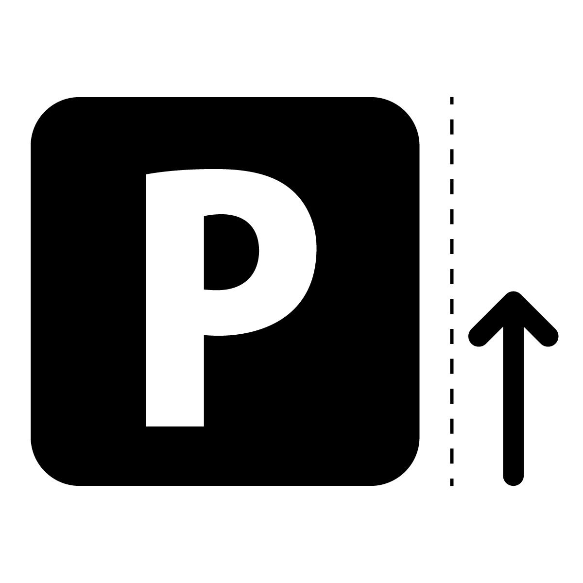 黒色のパーキング・駐車場案内マークのカッティングステッカー・シール