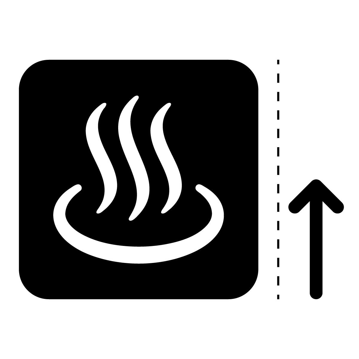黒色の温泉・風呂案内マークのカッティングステッカー・シール