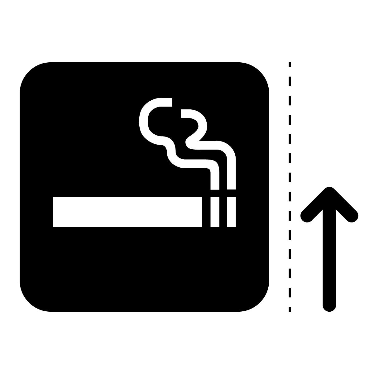 黒色の喫煙スペース案内マークのカッティングステッカー・シール