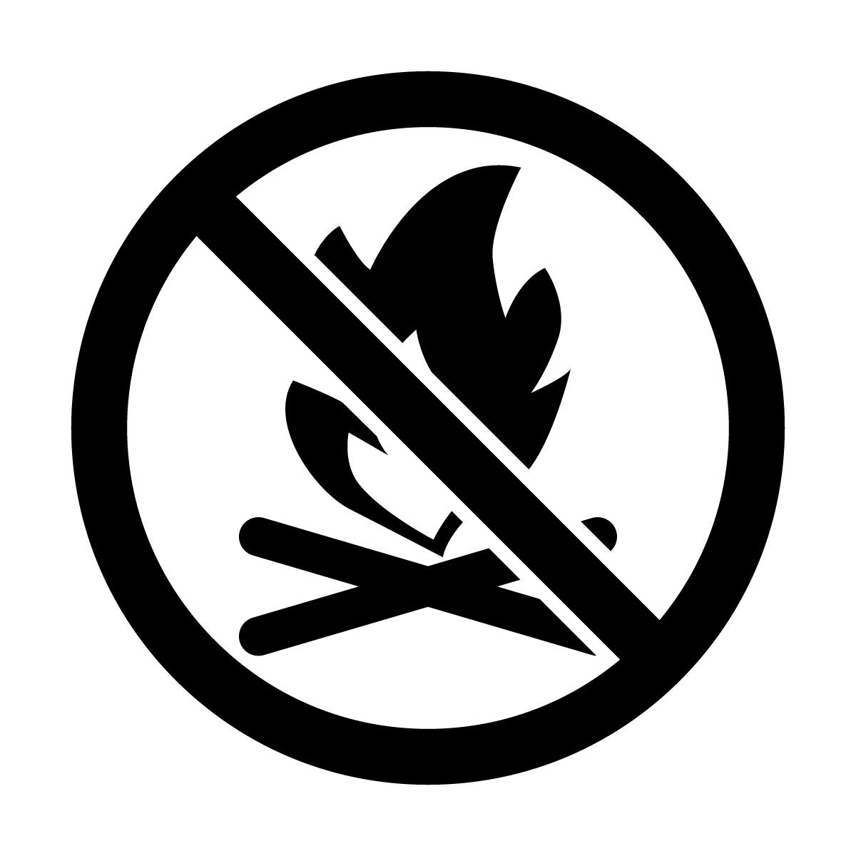 黒色の焚き火・火起こし禁止マークのカッティングステッカー・シール
