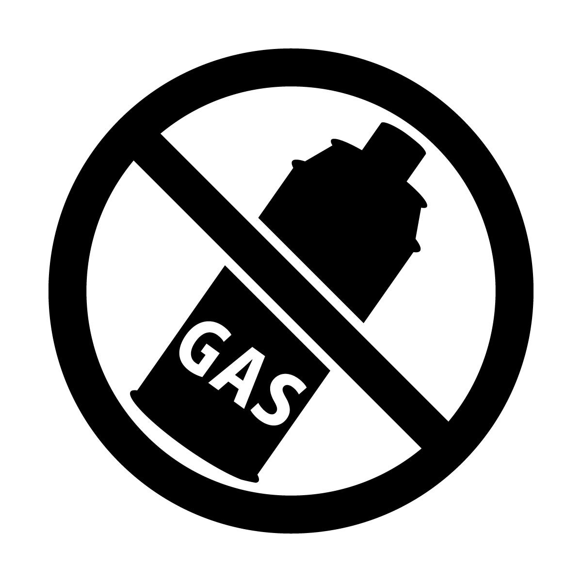 黒色のガス使用禁止マークのカッティングステッカー・シール