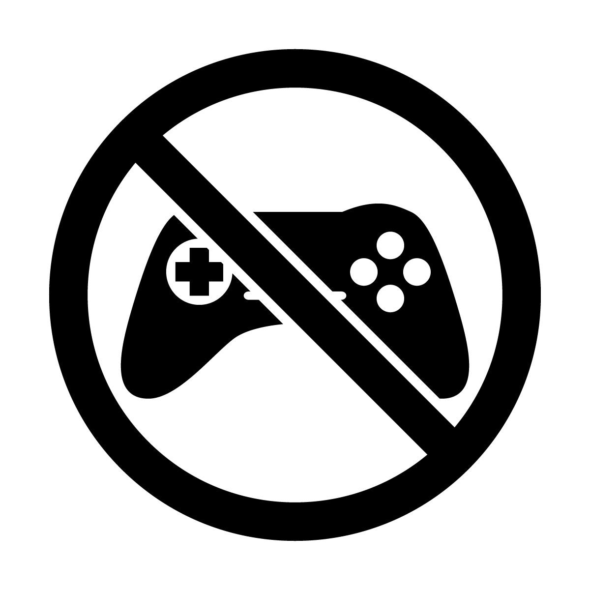 黒色のゲーム禁止マークのカッティングステッカー・シール