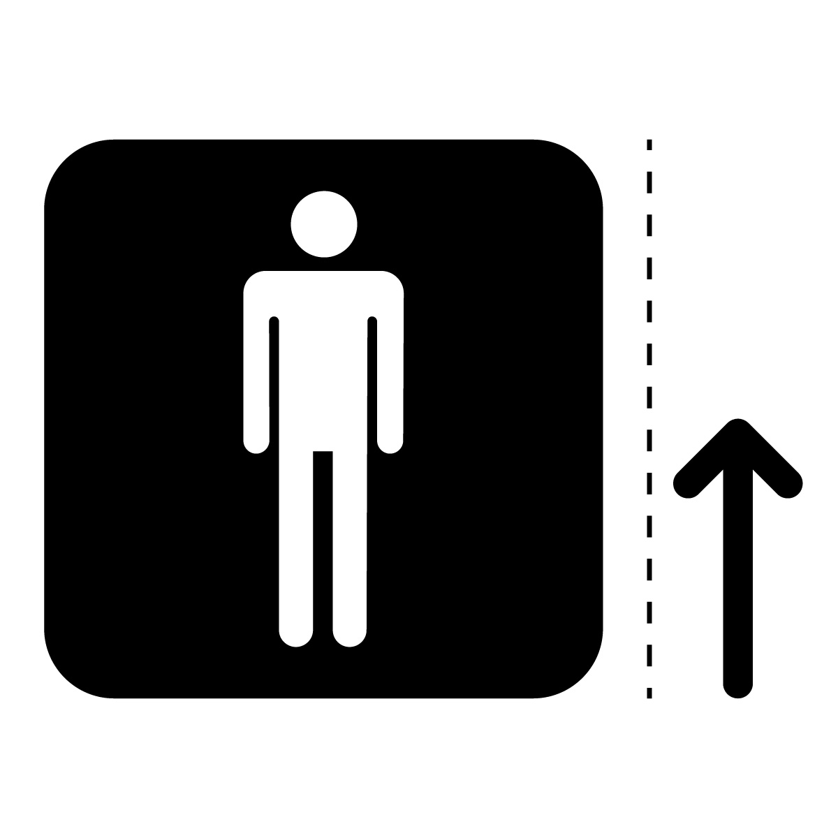 黒色の男性トイレ案内マーク(矢印付き)のカッティングステッカー・シール