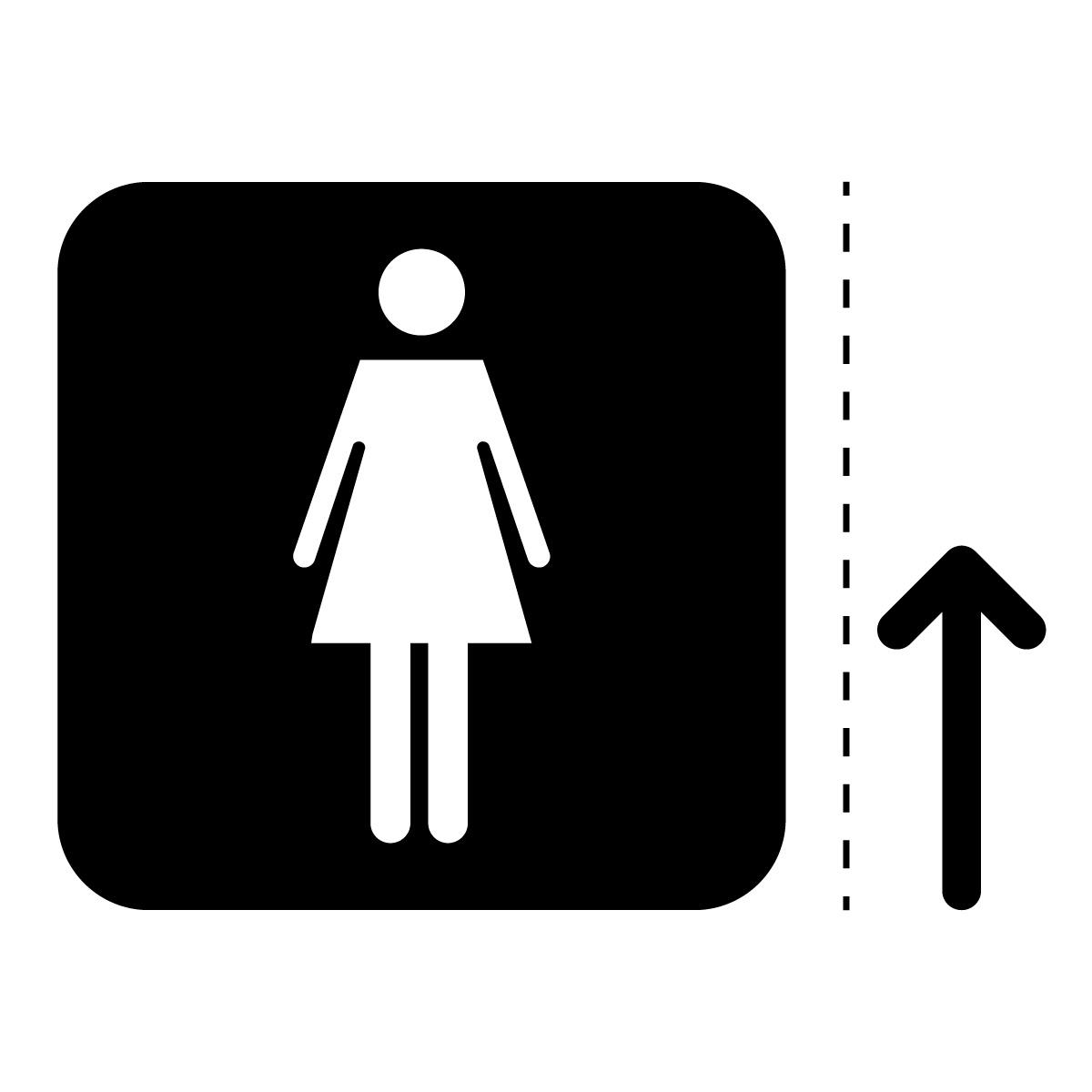 黒色の女性トイレ案内マーク(矢印付き)のカッティングステッカー・シール
