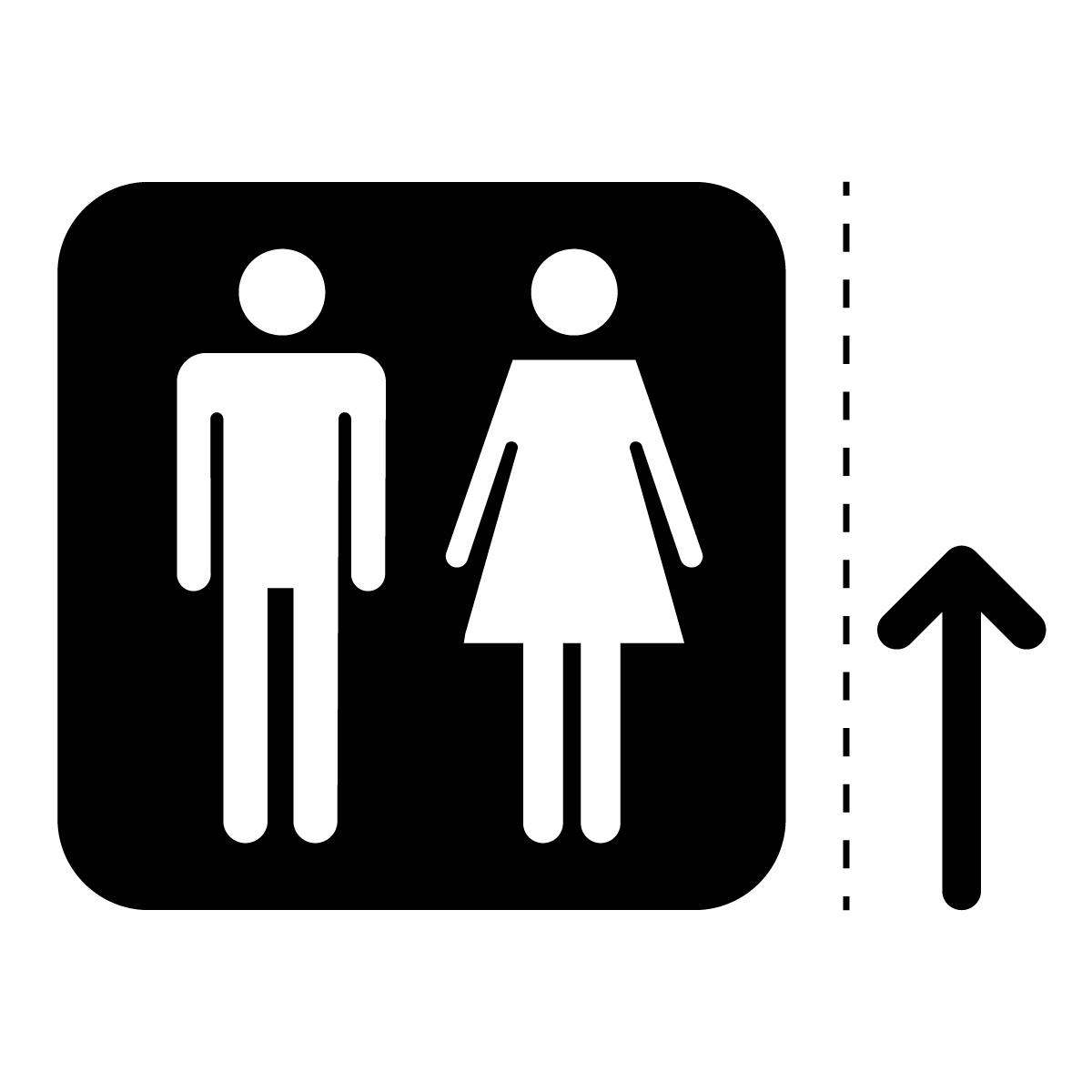 黒色の男女トイレ案内マーク(矢印付き)のカッティングステッカー・シール