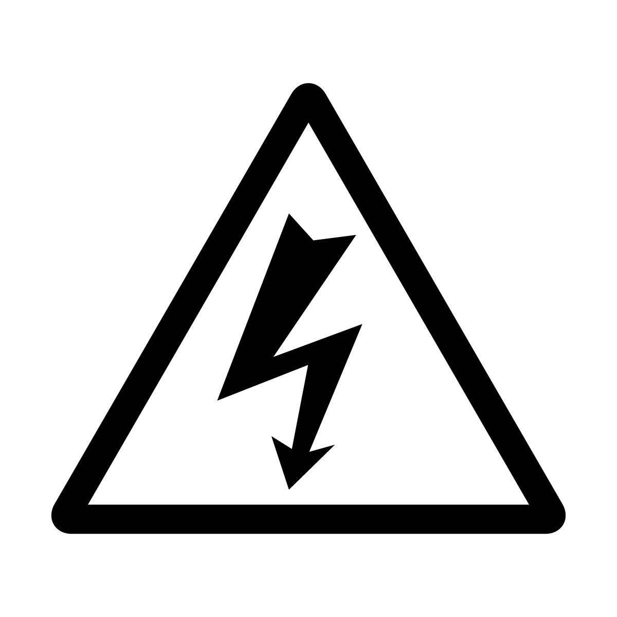 黒色の感電・高圧電気注意マークのカッティングステッカー・シール 光沢タイプ・防水・耐水・屋外耐候3~4年