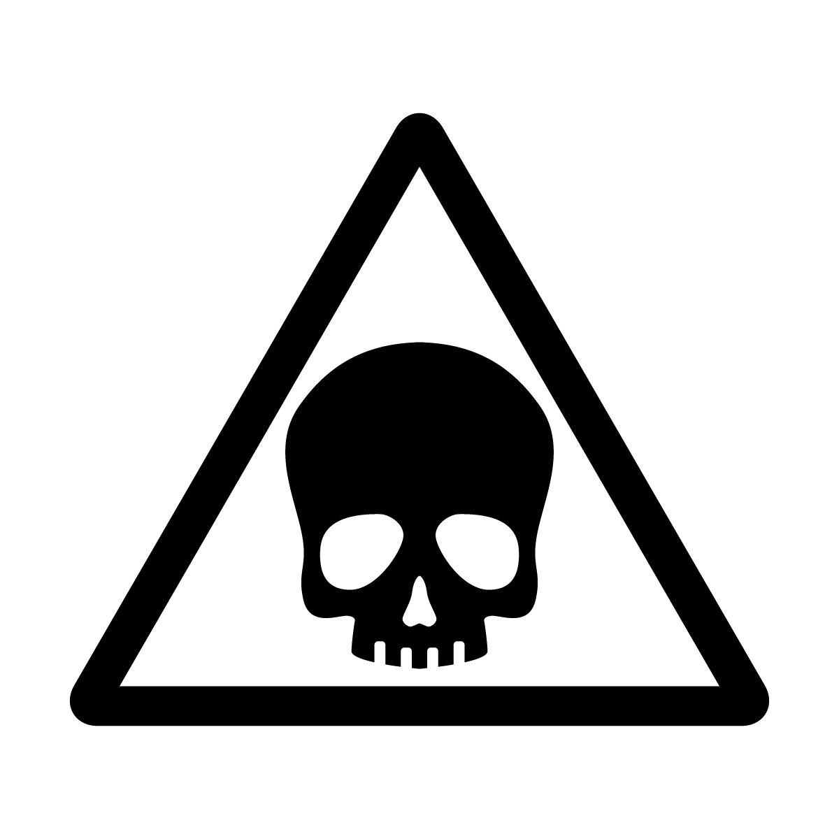 黒色のドクロ・有害・危険・猛毒・注意マークのカッティングステッカー・シール 光沢タイプ・防水・耐水・屋外耐候3~4年