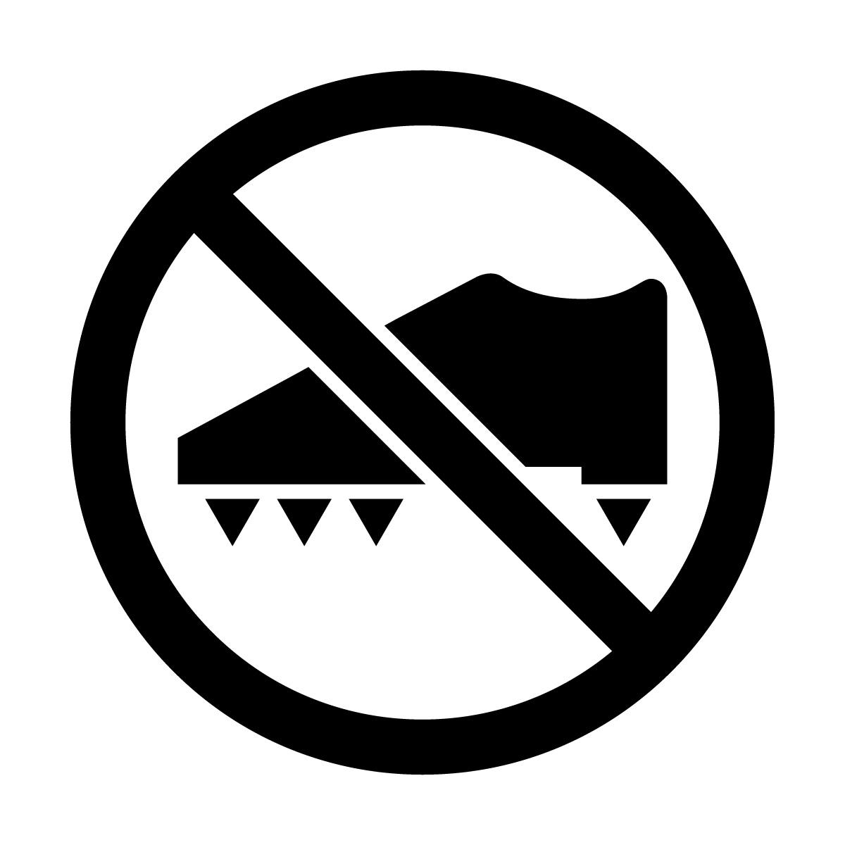 黒色のスパイク着用・使用禁止マークのカッティングステッカー・シール 光沢タイプ・防水・耐水・屋外耐候3~4年