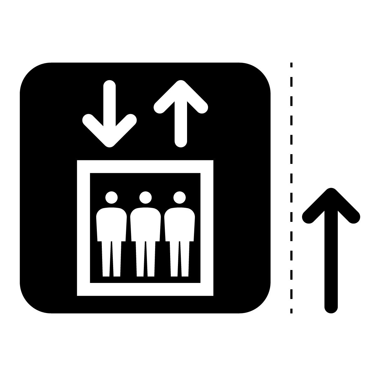 黒色のエレベーター案内マーク(矢印付き)のカッティングステッカー・シール 光沢タイプ・耐水・屋外耐候3~4年