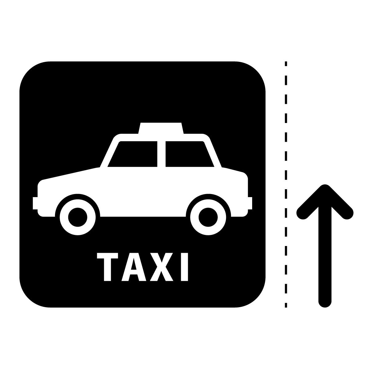 黒色のタクシー案内マーク(矢印付き)のカッティングステッカー・シール