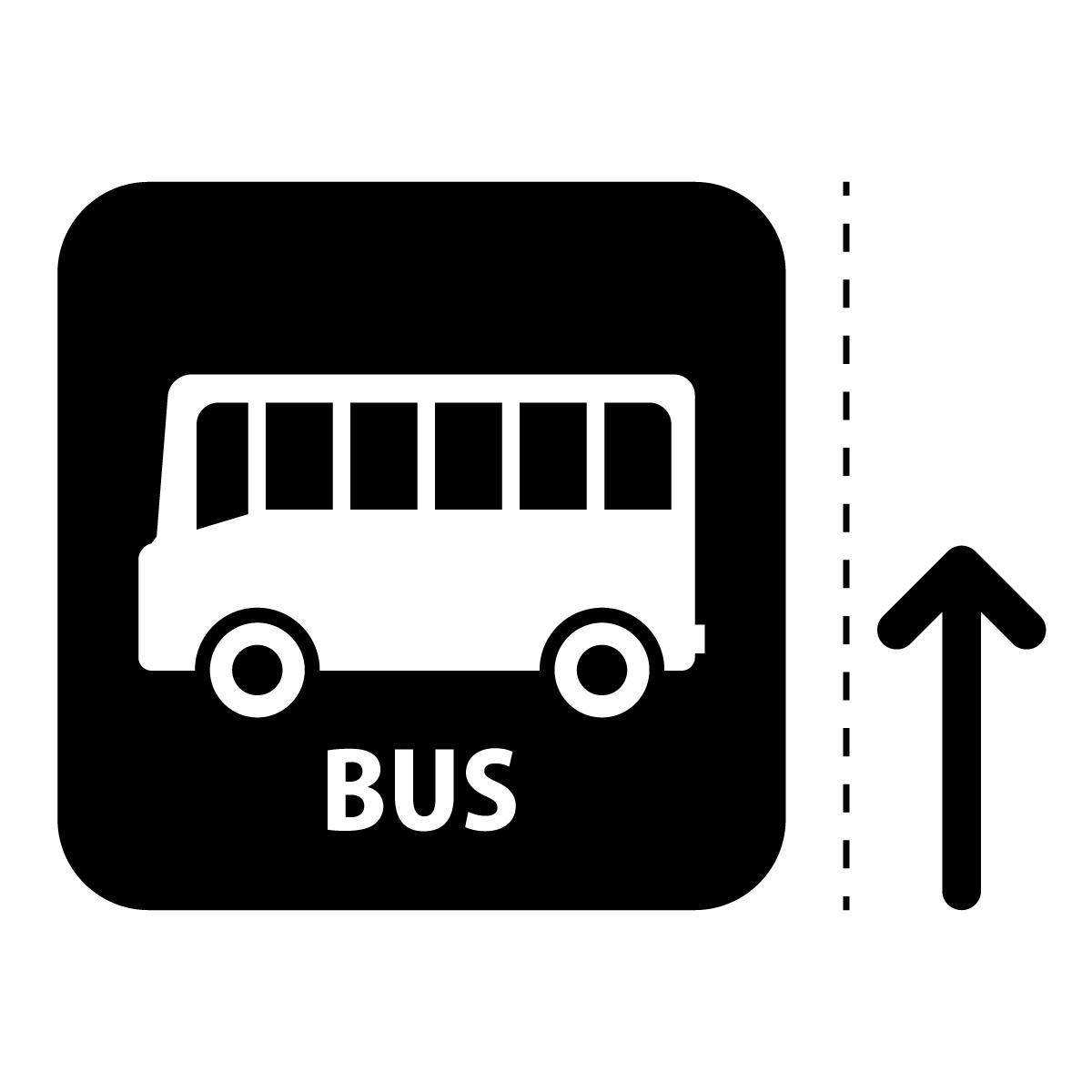 黒色のバス案内マーク(矢印付き)のカッティングステッカー・シール
